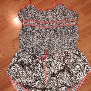 Cheetah animal print babydoll top and shorts